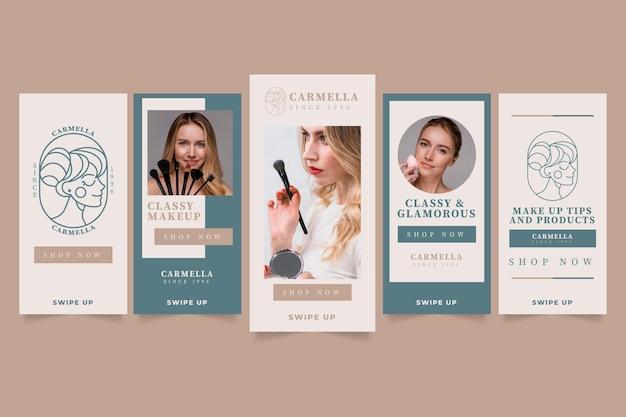 Coleção de histórias instagram de design plano