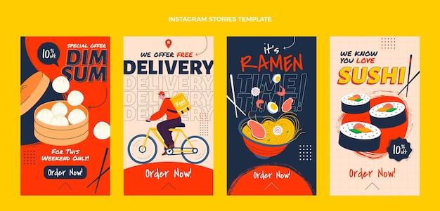 Coleção de histórias instagram de entrega de comida asiática
