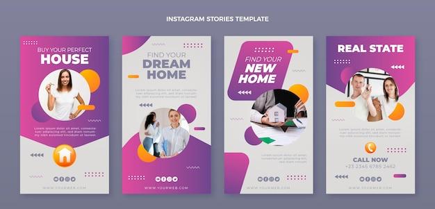 Coleção de histórias instagram de imóveis com gradiente