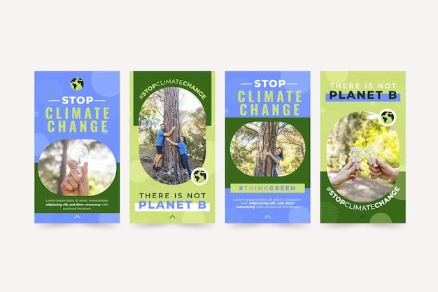 Coleção de histórias instagram de mudanças climáticas planas