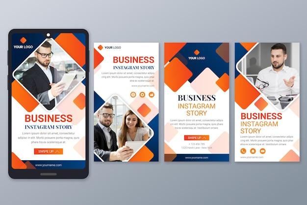 Coleção de histórias instagram de negócios em gradiente
