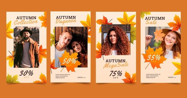 Coleção de histórias instagram de outono gradiente com foto
