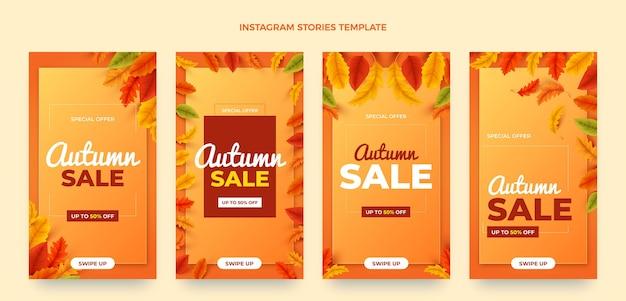 Coleção de histórias instagram de outono realista
