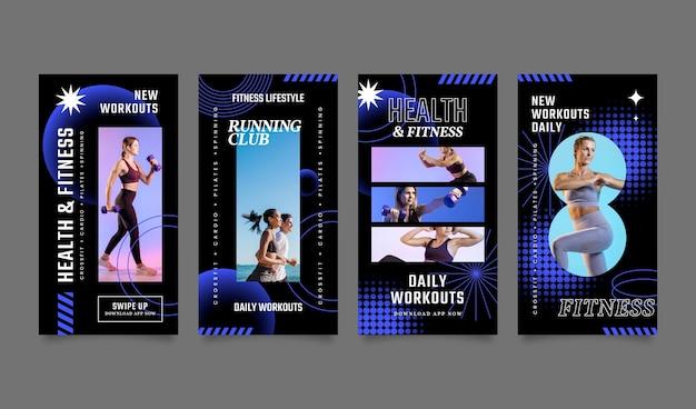 Coleção de histórias instagram de saúde e fitness gradiente