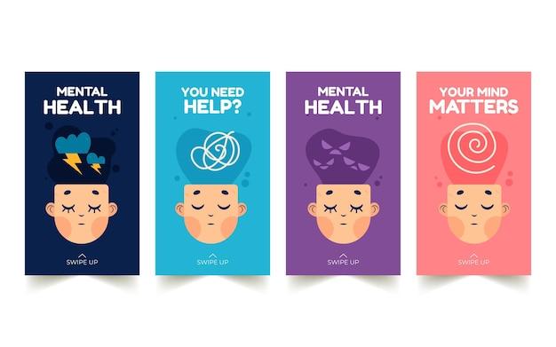 Coleção de histórias instagram de saúde mental desenhada à mão