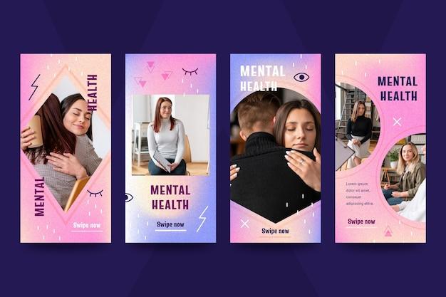 Coleção de histórias instagram de saúde mental gradiente com foto