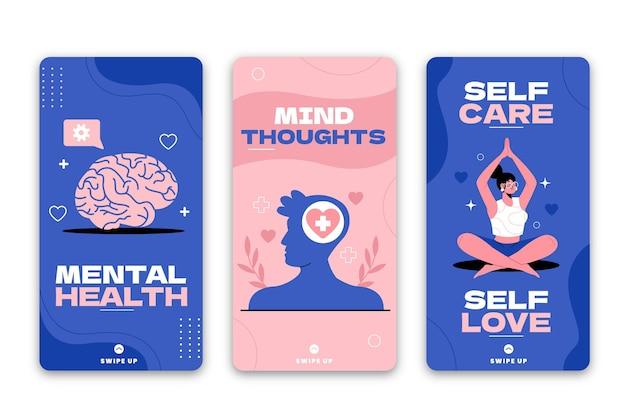 Coleção de histórias instagram de saúde mental plana