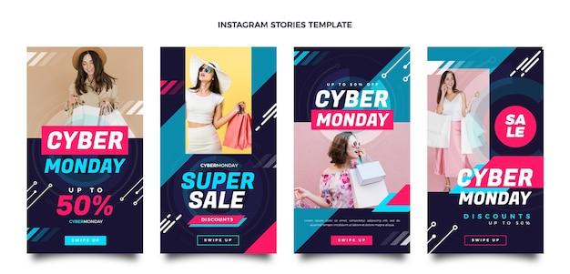 Coleção de histórias instagram de segunda-feira cibernética plana