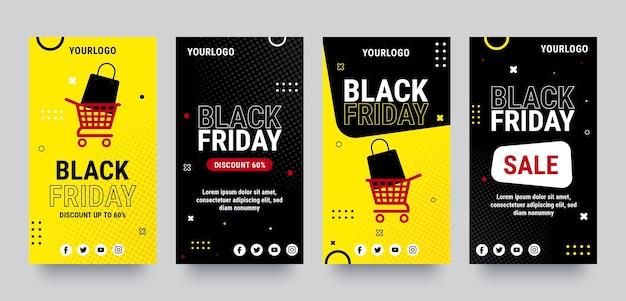 Coleção de histórias instagram de sexta-feira preta plana