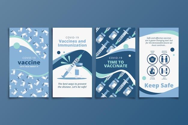 Coleção de histórias instagram de vacinação plana