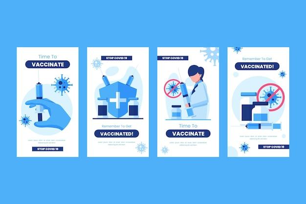 Coleção de histórias instagram de vacinas planas