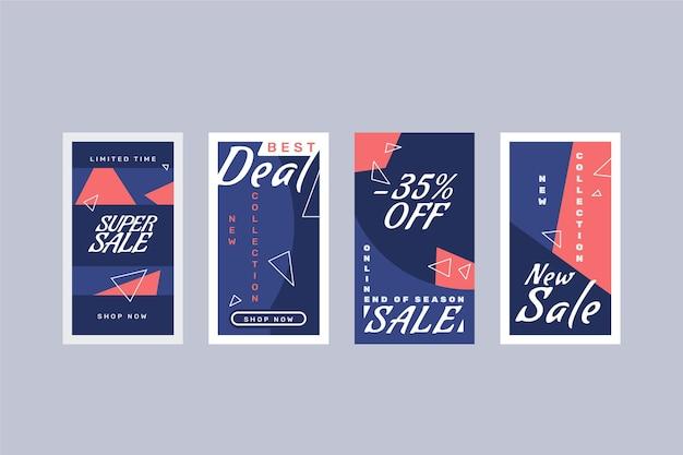 Coleção de histórias instagram de venda de design plano