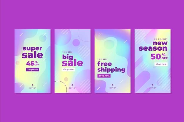 Coleção de histórias instagram de venda de gradiente moderno Vetor grátis