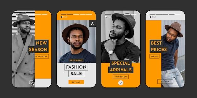 Coleção de histórias instagram de venda de moda