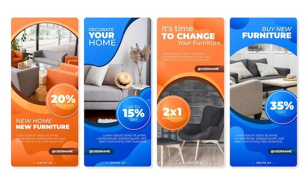 Coleção de histórias instagram de venda de móveis gradiente