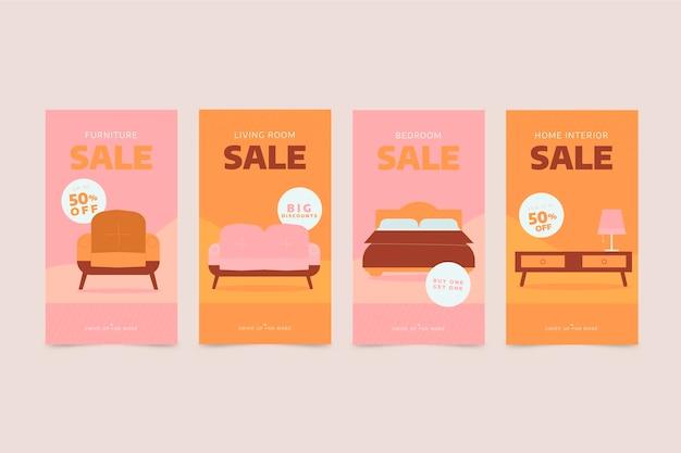 Coleção de histórias instagram de venda de móveis planos orgânicos