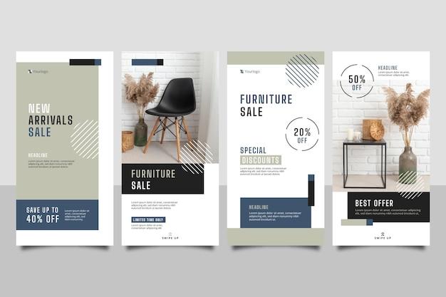 Coleção de histórias instagram de venda de móveis planos
