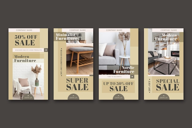 Coleção de histórias instagram de venda de móveis