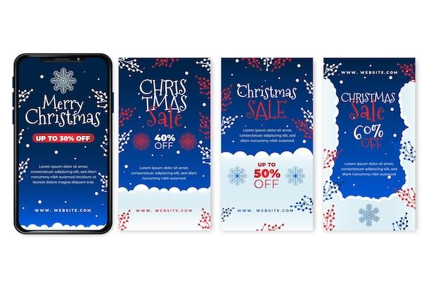 Coleção de histórias instagram de venda de natal