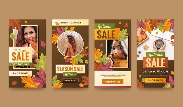 Coleção de histórias instagram de venda de outono gradiente com foto