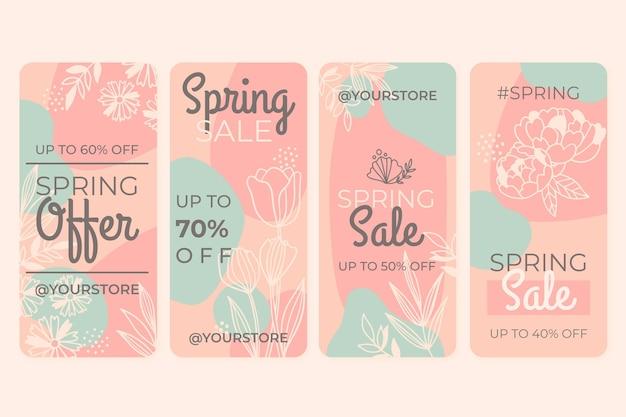 Coleção de histórias instagram de venda de primavera desenhada à mão