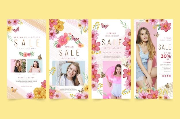 Coleção de histórias instagram de venda de primavera em aquarela