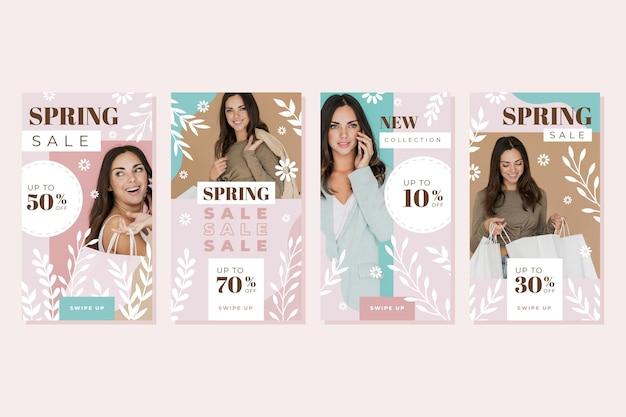 Coleção de histórias instagram de venda de primavera em design plano