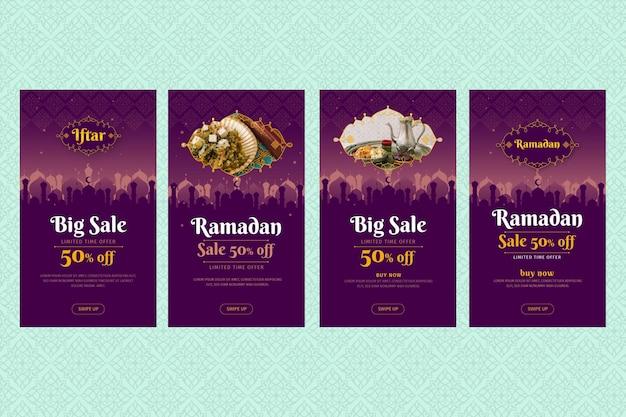 Coleção de histórias instagram de venda de ramadã