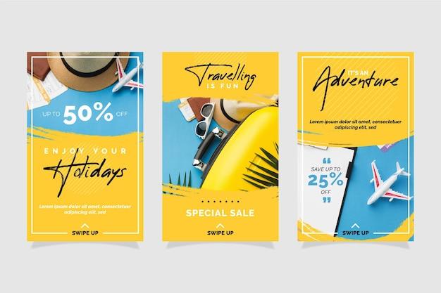 Coleção de histórias instagram de venda de viagens