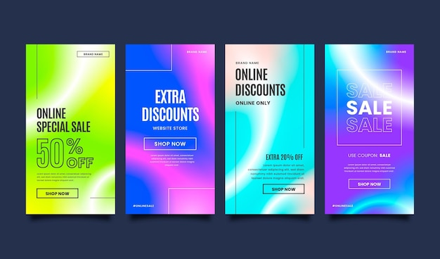 Coleção de histórias instagram de venda gradiente