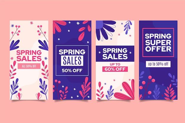 Coleção de histórias instagram de venda plana da primavera
