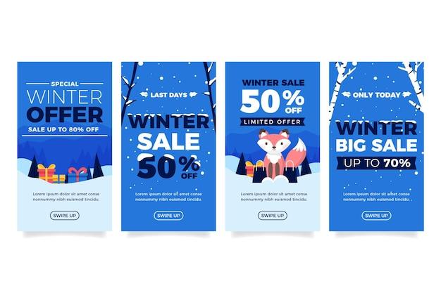 Coleção de histórias instagram de venda plana de inverno