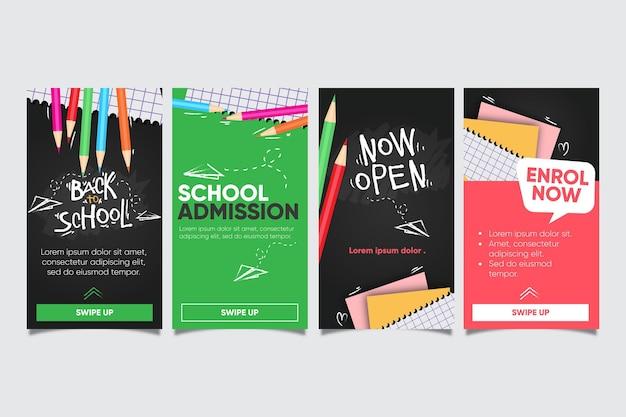 Coleção de histórias instagram de volta à escola