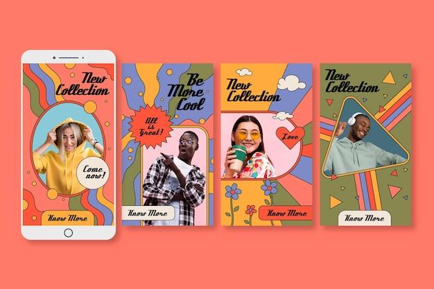 Coleção de histórias instagram desenhadas à mão