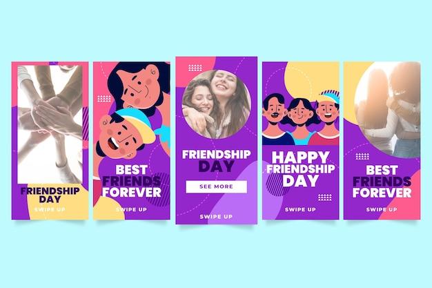 Coleção de histórias instagram do dia da amizade internacional plana