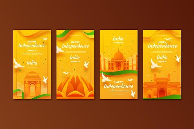 Coleção de histórias instagram do dia da independência da índia gradiente