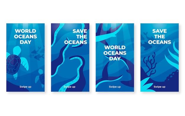 Coleção de histórias instagram do dia dos oceanos do mundo plano
