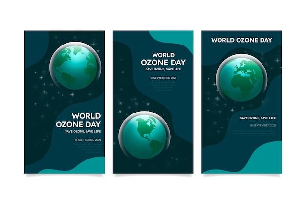 Coleção de histórias instagram do dia mundial do ozônio gradiente