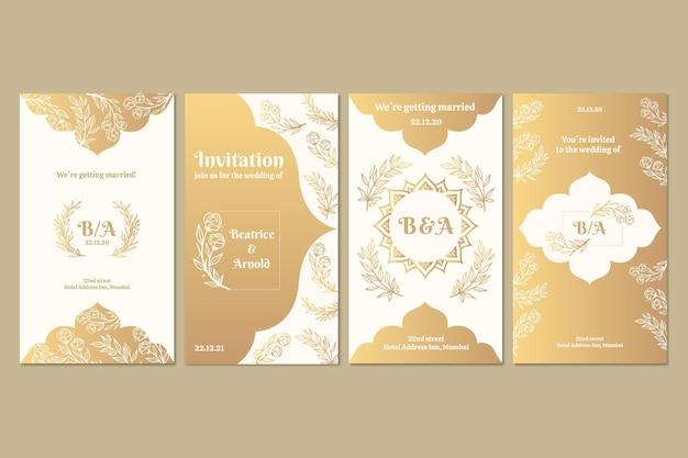 Coleção de histórias instagram douradas para casamento