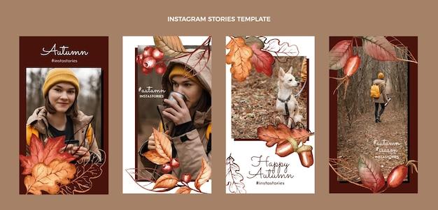 Coleção de histórias instagram em aquarela de outono