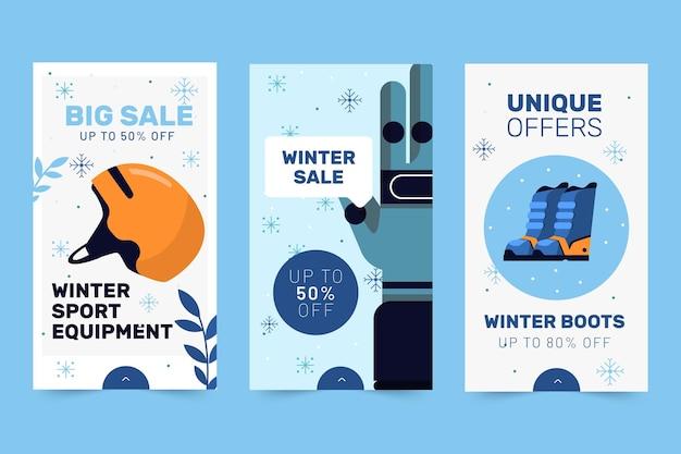 Coleção de histórias instagram em promoção de inverno