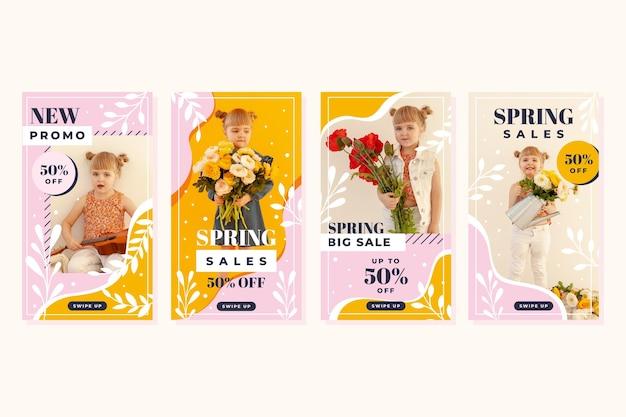 Coleção de histórias instagram em promoção de primavera