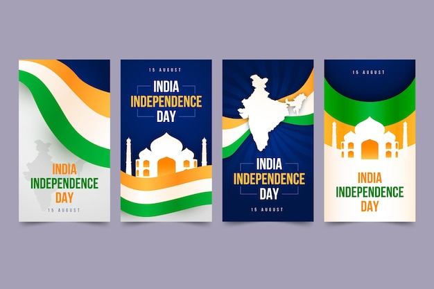 Coleção de histórias instagram gradiente do dia da independência da índia