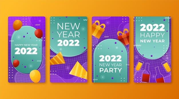 Coleção de histórias instagram gradientes de ano novo