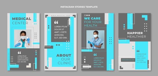 Coleção de histórias instagram médicas de design plano