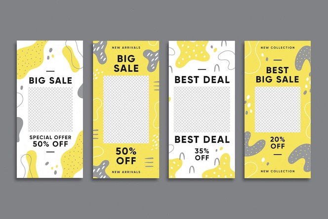 Coleção de histórias instagram orgânicas em amarelo e cinza