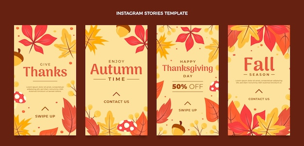 Coleção de histórias instagram planas de outono