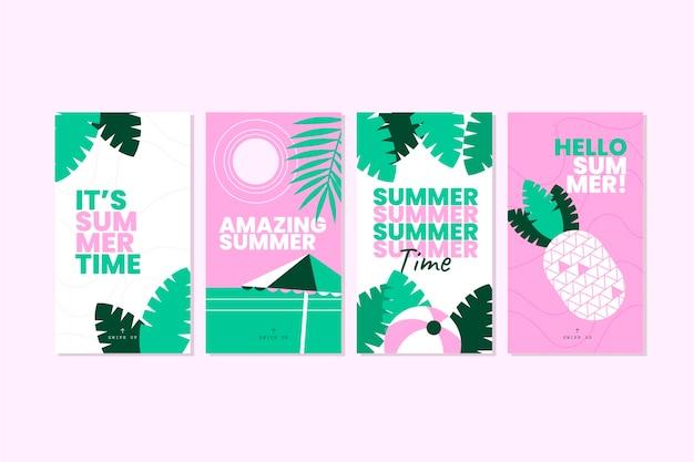 Coleção de histórias instagram planas de verão