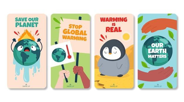Coleção de histórias instagram planas sobre mudança climática desenhada à mão