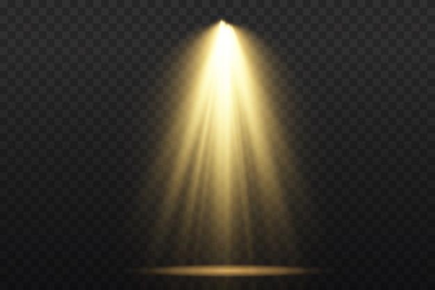 Coleção de holofotes de iluminação de palco, cena, grande coleção de iluminação de palco, efeitos de luz do projetor, iluminação amarela brilhante com holofotes, luz de ponto isolada, vetor.